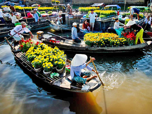 Cai Rang Floating Market on Tet Holiday- Saigon to Can Tho by private car